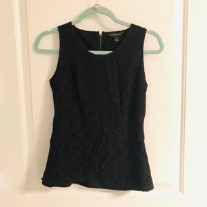 Black Lace Top with Zippered Back